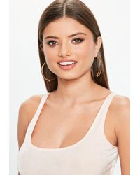 Missguided - Gold Facet Ball Hoop Earrings - Lyst