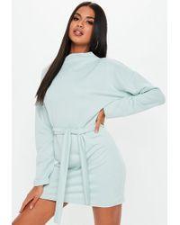 Missguided - Mint Tie Waist Funnel Neck Sweatshirt Dress - Lyst