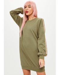 Missguided - Khaki Stripe Long Sleeve Sweater Dress - Lyst