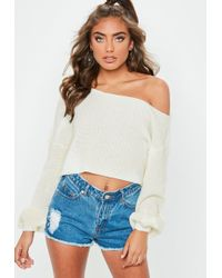 Missguided - White Off Shoulder Balloon Sleeve Knitted Jumper - Lyst