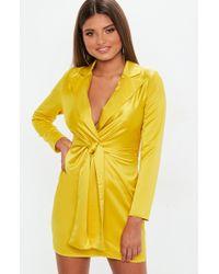 Missguided - Mustard Plunge Collar Tie Shift Dress - Lyst