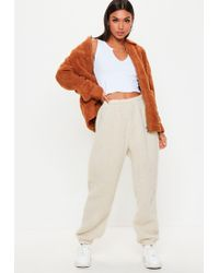 Missguided - Cream Teddy Joggers - Lyst