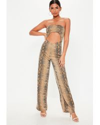 92589b8991f0 Missguided - Brown Snake Print Bandeau Cut Out Jumpsuit - Lyst