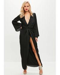 Missguided - Black Satin Plunge Twist Front Kimono Maxi - Lyst