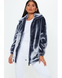 Missguided - Navy Oversized Faux Fur Jacket - Lyst