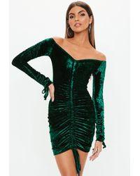 d6c941d2c472 Missguided - Green Crushed Velvet Bardot Mini Dress - Lyst · Missguided - Petite  Burgundy High Neck ...