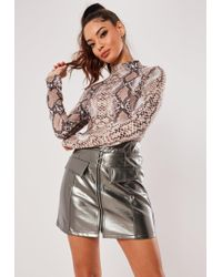 Missguided - Silver Metallic Faux Leather Mini Skirt - Lyst