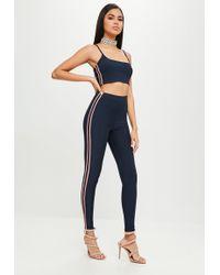 Missguided - Navy Stripe Slinky Legging - Lyst