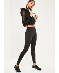 66e2e9bd7dbce Missguided Active Mesh Insert Cropped Gym Leggings Pink in Black - Lyst
