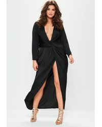 Missguided - Plus Size Black Satin Thigh Split Wrap Maxi Dress - Lyst