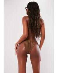 Missguided - Brown Gathered Key Hole High Leg Tanga Bikini Bottoms - Lyst