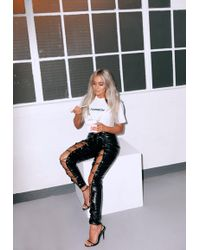 Missguided - Fanny Lyckman X Black High Waisted Lace Up Leggings - Lyst