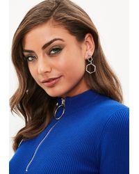 Missguided - Silver Drop Earrings - Lyst
