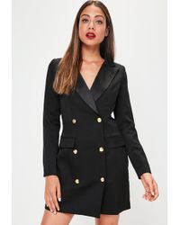 Missguided - Petite Long Sleeve Tuxedo Dress Black - Lyst