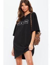 a61e4ff074 Lyst - Missguided Wretched Oversized T-shirt Dress Black in Black