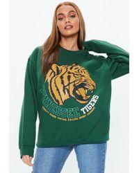Missguided - Green Tennessee Tigers Slogan Sweatshirt - Lyst