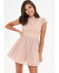 Missguided | Blush Lace Mesh Underlay Skater Dress | Lyst