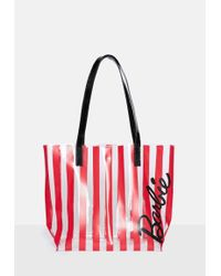 Missguided - Barbie X Red Candy Stripe Beach Bag - Lyst