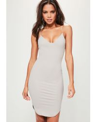 Missguided - Strappy Curve Hem Midi Dress Ice Grey - Lyst