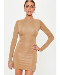 Missguided - Camel Long Sleeve Bodycon Mini Dress - Lyst