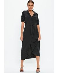 Missguided - Black Long Sleeve Utility Midi Shirt Dress - Lyst