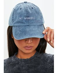Missguided - Blue Not Interested Slogan Cap - Lyst