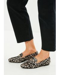 Missguided - Black Brocade Buckle Loafers - Lyst