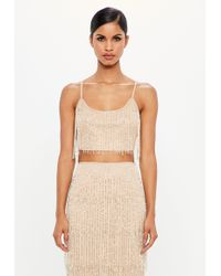 Missguided - Peace + Love Nude Fringe Embellished Crop Top - Lyst