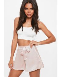 Missguided - Blush Pink High Waisted Satin Belted Shorts - Lyst