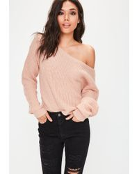 Missguided - Nude Off Shoulder Cropped Knitted Jumper - Lyst