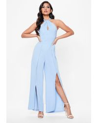 Missguided - Blue High Neck Split Leg Jumpsuit - Lyst