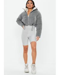 Missguided - Gray Reversible Borg Cropped Puffer Jacket - Lyst