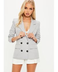 Missguided - Crepe Double Breasted Blazer Gray - Lyst
