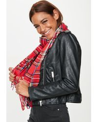 Missguided - Red Brushed Plaid Scarf - Lyst