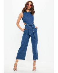 Missguided - Blue Sleeveless Cut Out Back Denim Jumpsuit - Lyst