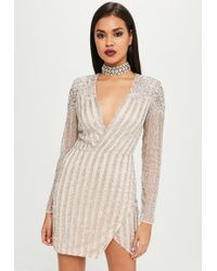 Missguided - Carli Bybel X Nude Embellished Mini Dress - Lyst