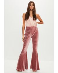 Missguided - Pink Ribbed Velvet Kick Flare Pants - Lyst