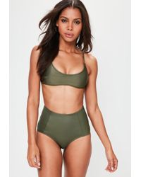 Missguided - Khaki Sporty Cross Back Bikini Top - Lyst