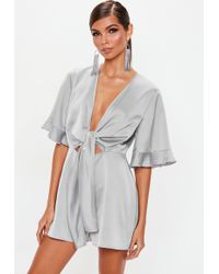 fabddb589377 Lyst - Missguided Grey Tie Strap Ribbed Culotte Jumpsuit in Gray