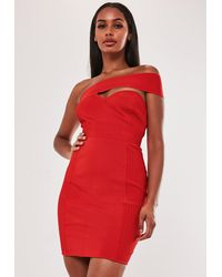 Missguided - Premium Red Bandage One Shoulder Bodycon Mini Dress - Lyst