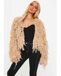 Missguided - Nude Shaggy Crop Knitted Cardigan - Lyst