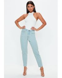 Missguided - Blue Vintage Riot High Waisted Rigid Jeans - Lyst