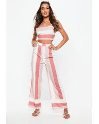 Missguided - Pink Stripe Wide Leg Pants - Lyst