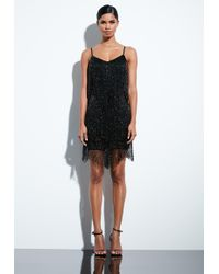 Missguided - Peace + Love Black Fringed Mini Dress - Lyst