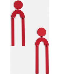 Missguided - Red Shape Drop Earrings - Lyst