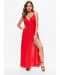 Missguided - Red Sheer Strappy Maxi Dress - Lyst