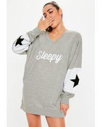 Missguided - Grey Sleepy Oversized Night Sweatshirt - Lyst