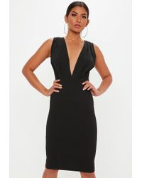 Missguided - Black Plunge Gathered Midi Dress - Lyst