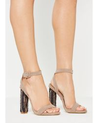 05cfe2f457a Missguided - Nude Beaded Block Heel Sandals - Lyst