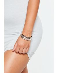 Missguided - Rose Gold Mixed Texture And Plain Cluster Bangles - Lyst